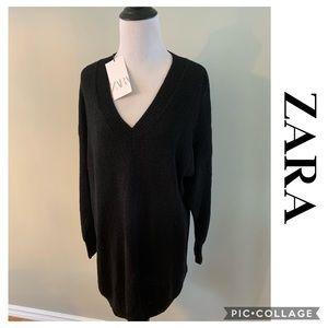 NEW Zara Long Oversized Sweater Tunic Black Small